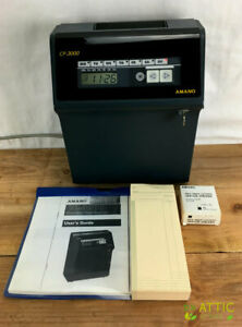 Amano Cp 3000 Time Clock Computerized Calculating Time Recorder Extras Tested
