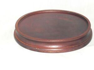 Vintage Chinese Oval Hand Carved Brown Rosewood Pot Bowl Display Stand