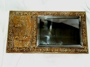 Antique Victorian Beveled Glass Mirror With Brass Relief Frame