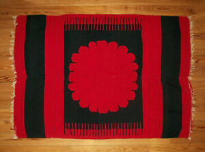 Antique Vtg 1890s Native Indian Blanket Probably Mexican Red And Black Graphic