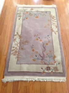 3 X 5 Vintage Hand Made Chinese Wool Border Rug Art Deco 90 Lines Flowers Nice