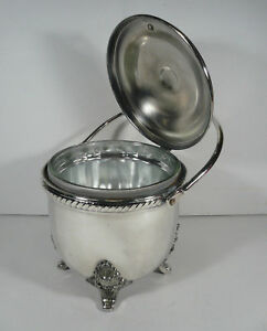 Vtg Bristol Silverplate Barware Ice Bucket Poole Silver Co Post Mcm Glass Liner