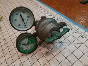 Vintage Linde Company Type R 205 Oxygen Regulator W brass Gauges Used
