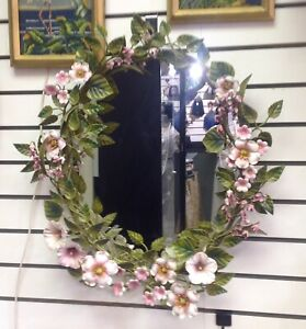 Vintage Italian Tole Floral Large Wall Mirror