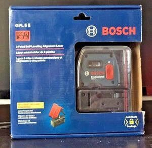 Bosch 5 point Self leveling Plumb And Square Alignment Laser gpl 5 S Brand New