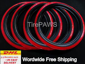 Vintage Portawall Radial Classic Style Tire R14 Black Red Sidewall Set 4