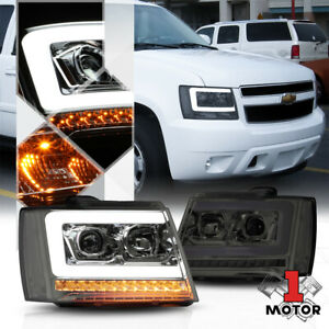 Chrome smoke Projector Headlight led Bar sequential Signal For 07 14 Suburban