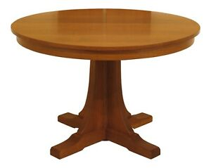 30607ec Stickley 46 Round Mission Oak Dining Room Table