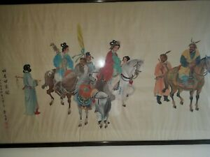 Large Vintage Gongbi Style Chinese Painting On Raw Silk