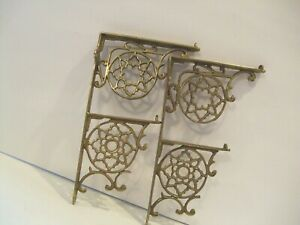 Antique Vintage Solid Brass Pair Of Shelf Brackets Made In Usa Holds 2 Shelves