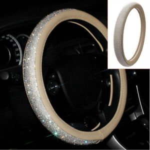 15 Beige Crystal Front Car Steering Wheel Cover W Bling Rhinestone Pu Leather