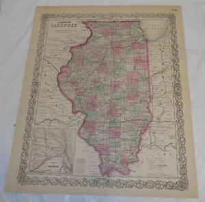 1866 Antique Color Colton Map Of Illinios