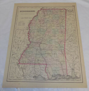 1855 Antique Color Colton Map Of Mississippi