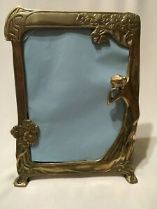 Vintage Brass Art Deco Lady Figure Easel Table Mirror 13 5 X 10 Rare Large Size