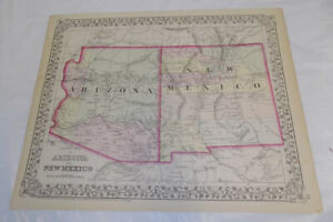 1872 Antique Color Mitchell Map Of Arizona New Mexico