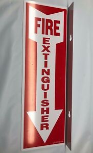 10 Lot New 4 X 12 Rigid Plastic 90 Angle Fire Extinguisher Arrow Signs