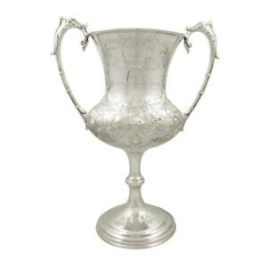Tall Antique Victorian Sterling Silver Coursing Trophy Cup 1888