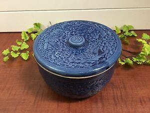 Antique Blue Stoneware Butter Crock Keeper Berries Leaves