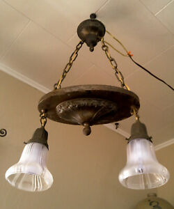 Working Antique Vintage 2 Light Hanging Ceiling Fixture Chandelier Glass Shades