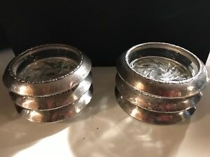 Antique 6 Sterling Silver Glass Coasters Amston 144 Feather Design Beaded Rims
