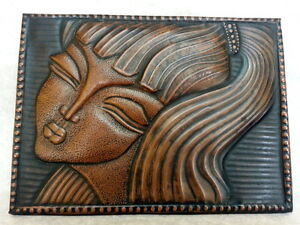 Nice Antique Art Deco Figure Plaque Panel Copper Young Woman