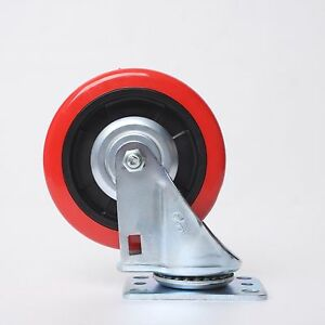 2pcs 5 5 inch Swivel Caster Red Polyurethane Wheel With Bearing Ball Plate Ene