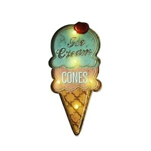 Bleumoo 1pcs Led Ice Cream Cones Light Neon Sign Vintage Wall Hanging Dec New