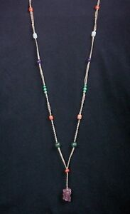 Antique Chinese Necklace With Jade Tourmaline Coral Etc