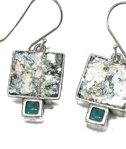 Roman Glass Fragment Earings Ancient 200 B C Sterling Silver 925 Square Israel