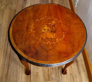 Antique Vintage French Carved Marquetry Inlay End Side Lamp Table