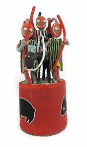 Yoruba Beaded Crown King On Horse And Four Guardians Africa