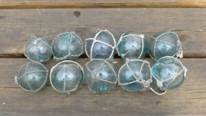 Vintage Japanese Round Glass Fishing Floats W Net 2 Lot Of 10