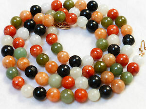 Chinese Vintage 14k Gold Multicolor Jade 8mm Bead Necklace 75 Grams
