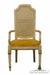 Stanley Furniture French Provincial Antique White Cane Back Dining Arm Chair