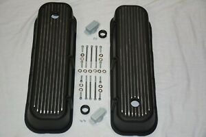 Black Aluminum Big Block Chevy Tall Finned Valve Covers Bbc 396 427 454 502