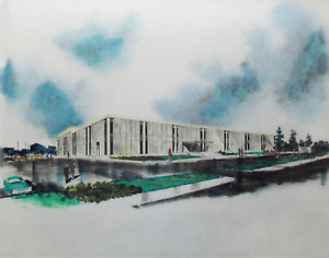 2 Mid Century Modern Architectural Watercolor Renderings Concept Art