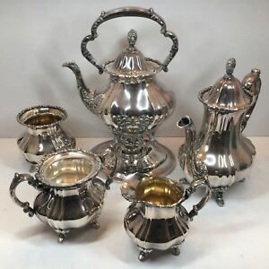 Poole 7 Pc Lancaster Rose Silver Plate Epns Tea Serving Set Warmer Waste Bowl