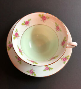 Vintage Taylor Kent Longton England Bone China Tea Cup And Saucer 6706 A Rose