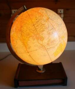 Vtg 12 Replogle Comprehensive Lighted World Globe Wood Shelf Base