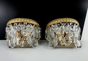 Great Pair Of Vintage Sconces Wall Lamps By Ernst E Palme Crystal Beads 1960s