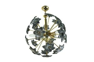 Vintage Mid Century Sputnik Chandelier With Murano Glass Flowers Italy 1960s