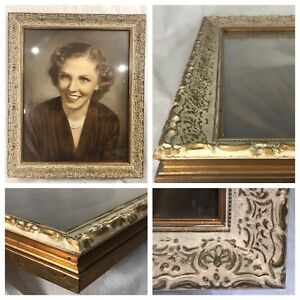 Antique Ornate Carved Wood 16x20 Picture Frame Vintage White Gold W Glass