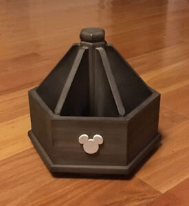 Mickey Mouse Grey Wooden Rotating Desk Organizer Caddy Remote Holder