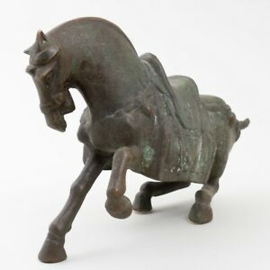 Antique Chinese Bronze War Horse With Saddle Sculpture 17 Long Asian Art Statue
