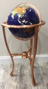 Blue Lapis Gemstone World Globe Beautiful 36 Tall With Copper Floor Stand