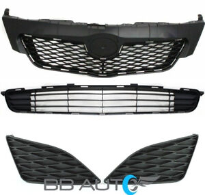 4pc New Upper Lower Front Bumper Grille Fog Covers For 2009 2010 Toyota Corolla