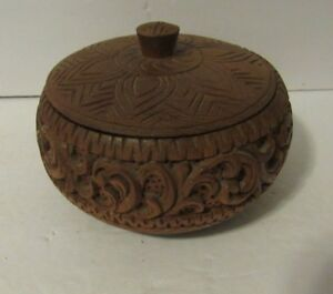 Vintage Wooden Hand Carved Bowl With Lid