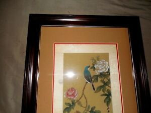 Antique Asian Chinese Japanese Watercolor Painting Bird Flowers On Silk Framed