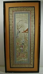Embroidery Japanese Woman In Garden On Silk Framed 28 X 14 Vintage