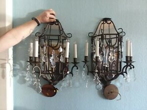Set Pair 2 Vtg Wrought Iron Crystal Prisms Mirror Wall Sconces 21 4 Candles